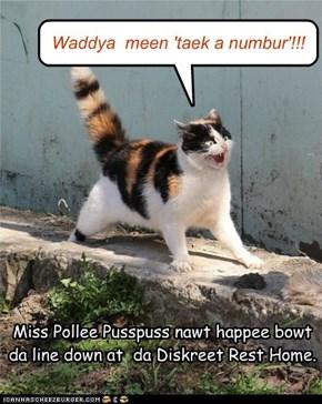 Miss Pollee Pusspuss nawt happee bowt  da line down at  da Diskreet Rest Home.