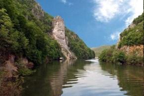 Statue of Decebal on the Danube, at Cazane, Romania