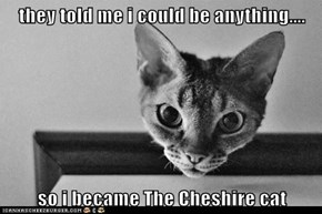 they told me i could be anything....  so i became The Cheshire cat