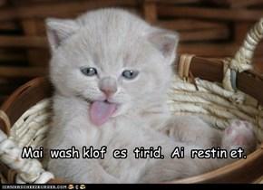 Mai  wash klof  es  tirid.  Ai  restin et.