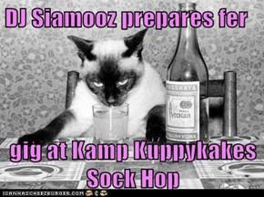 DJ Siamooz prepares fer  gig at Kamp Kuppykakes Sock Hop