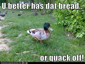 U better has dat bread..   or quack off!