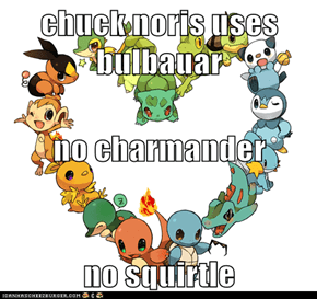 chuck noris uses bulbauar no charmander no squirtle