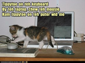 Tippytoe  on  teh  keyboard By  teh  laptop,  chew  teh  mousie Kum  tippytoe  on  teh  puter  wid  me