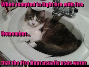 When tempted to fight fire with fire Remember... that the Fire Dept usually uses water