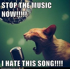 STOP THE MUSIC NOW!!!!!  I HATE THIS SONG!!!!