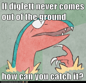 If diglett never comes out of the ground  how can you catch it?
