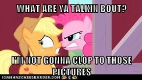 WHAT ARE YA TALKIN BOUT?  I'M NOT GONNA CLOP TO THOSE PICTURES