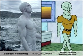 Engineer (Prometheus) Totally Looks Like Handsome Squidward  (Spongebob Squarepants)