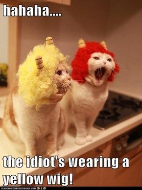hahaha....  the idiot's wearing a yellow wig!