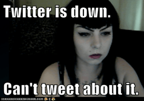 Twitter is down.  Can't tweet about it.