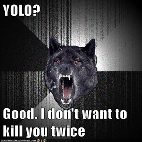 YOLO?  Good. I don't want to kill you twice