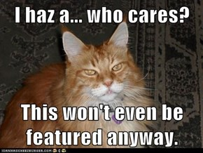 I haz a... who cares?  This won't even be featured anyway.