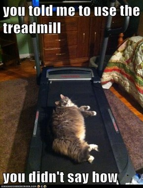 you told me to use the treadmill  you didn't say how