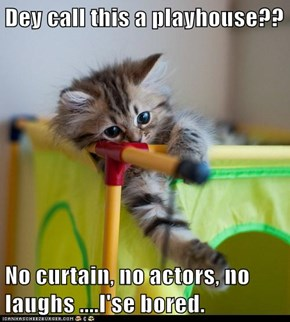 Dey call this a playhouse??  No curtain, no actors, no laughs ....I'se bored.
