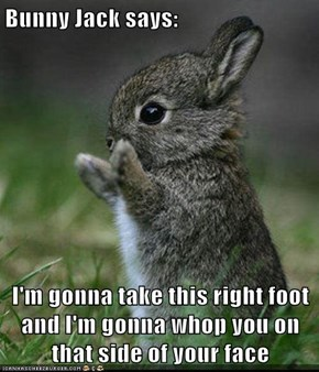 Bunny Jack says:  I'm gonna take this right foot and I'm gonna whop you on that side of your face