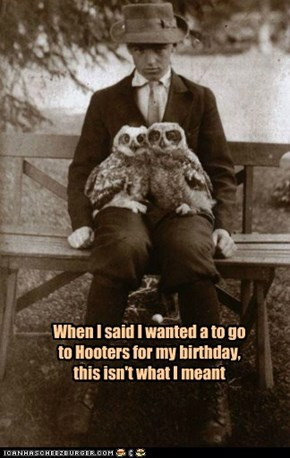When I said I wanted a to go to Hooters for my birthday, this isn't what I meant