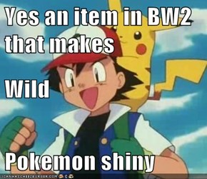Yes an item in BW2 that makes Wild Pokemon shiny