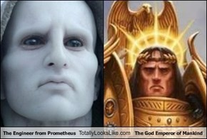 The Engineer From Prometheus Totally Looks Like The Emperor of Mankind From Warhammer 40,000.