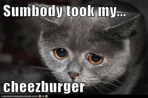 Sumbody took my...  cheezburger