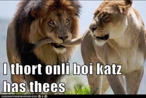 I thort onli boi katz has thees