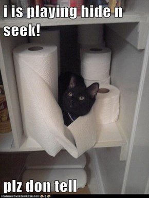 i is playing hide n seek!  plz don tell