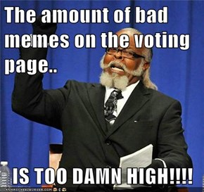 The amount of bad memes on the voting page..  IS TOO DAMN HIGH!!!!