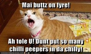 Mai buttz on fyre!  Ah tole U! Dunt put so many chilli peepers in da chilly!