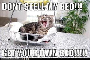 DONT STELL MY BED!!!  GET YOUR OWN BED!!!!!