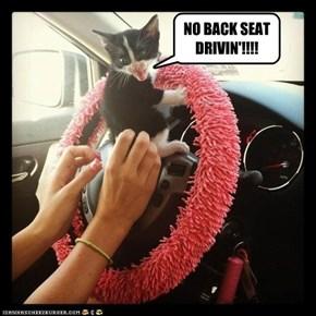 NO BACK SEAT DRIVIN'!!!!