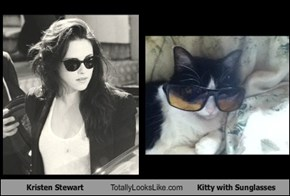 Kristen Stewart Totally Looks Like Kitty with Sunglasses
