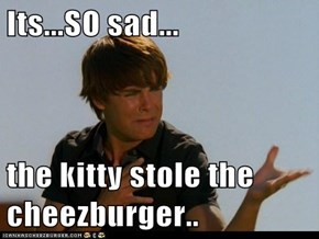 Its...SO sad...  the kitty stole the cheezburger..