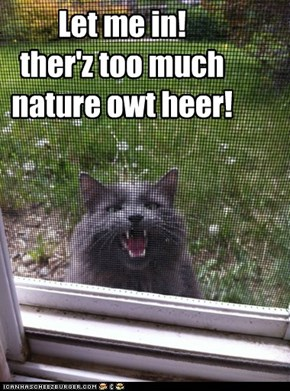 Let me in!  ther'z too much nature owt heer!