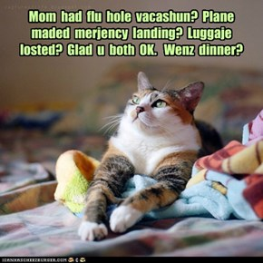 Mom  had  flu  hole  vacashun?  Plane maded  merjency  landing?  Luggaje  losted?  Glad  u  both  OK.   Wenz  dinner?