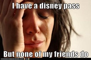 I have a disney pass  But none of my friends do