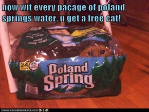 now wit every pacage of poland springs water, u get a free cat!