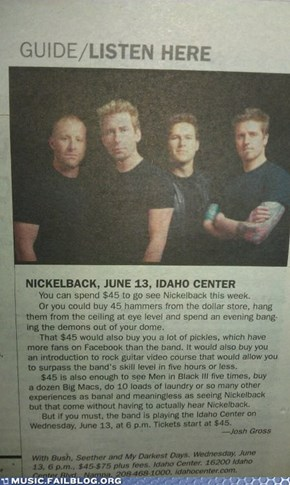 Reasons to Not See Nickelback