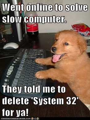 Went online to solve slow computer.  They told me to delete 'System 32' for ya!