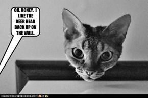 OH, HONEY,  I LIKE THE DEER HEAD BACK UP ON THE WALL.