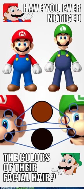Mario and Luigi Facial Hair