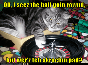 OK, I seez the ball goin rownd,  but wer'z teh skrachin pad?