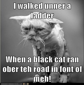 I walked unner a ladder  When a black cat ran ober teh road in font of meh!