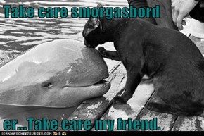 Take care smorgasbord  er...Take care my friend.
