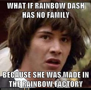 WHAT IF RAINBOW DASH HAS NO FAMILY  BECAUSE SHE WAS MADE IN THE RAINBOW FACTORY