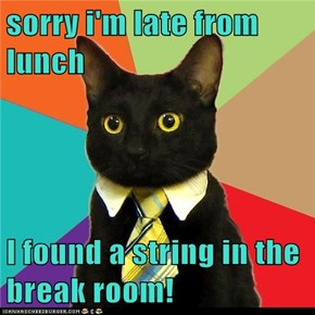 sorry i'm late from lunch   I found a string in the break room!