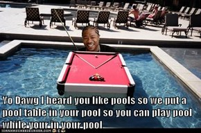 Yo Dawg I heard you like pools so we put a pool table in your pool so you can play pool while your in your pool