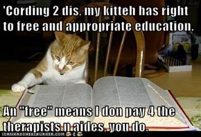 "'Cording 2 dis, my kitteh has right to free and appropriate education.   An ""free"" means I don pay 4 the therapists n aides, you do."
