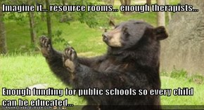 Imagine it... resource rooms... enough therapists...   Enough funding for public schools so every child can be educated...