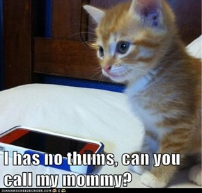 I has no thums, can you call my mommy?