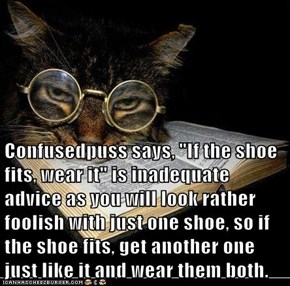 "Confusedpuss says, ""If the shoe fits, wear it"" is inadequate advice as you will look rather foolish with just one shoe, so if the shoe fits, get another one just like it and wear them both."